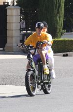 Justin Bieber & Hailey Bieber Out for a morning ride as they head for breakfast in Beverly Hills