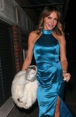 Lizzie Cundy Leaving Globe Theatre after attending Simon Cowell Charity Ball in London
