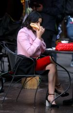 "Lucy Hale Filming a lunch scene at the ""Katy Keene"" set in Manhattan"