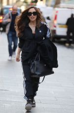 Myleene Klass Gets sporty arrives at Global Offices in London