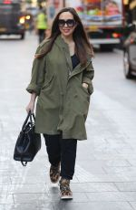 Myleene Klass Pictured arriving at Smooth Radio offices in Khaki coat in London