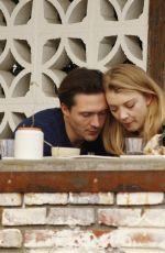 Natalie Dormer Dresses down in khaki shirt and rolled-up skinny jeans on lunch date with David Oakes in Los Angeles