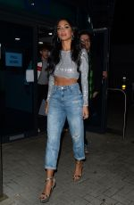 Nicole Scherzinger Leaves X Factor Studios wearing a shiny sequined silver crop top