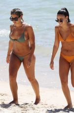 Noni Janur and Tayla Damir pictured enjoying a cold dip in Sydney