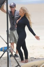 Pamela Anderson Films Ultra Tune TV ad on Gold Coast Beach, Queensland, Australia