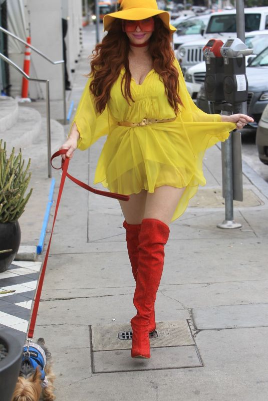 Phoebe Price Cleans up after her dog in Hollywood