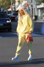 Pia Mia Sports sunny yellow for lunch at Il Pastaio in Beverly Hills