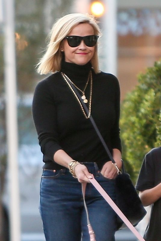 Reese Witherspoon Looks great while out with her family and dog shopping at Brentwood Country Market