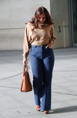 Vicky Pattison Looks stunning in beige top and denim jeans exits BBC studios in London