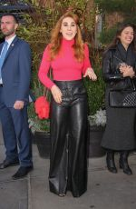 Zosia Mamet Looks great on a leather pants and a pink sweater