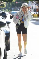 Charlotte McKinney Hiding after yoga class in Brentwood