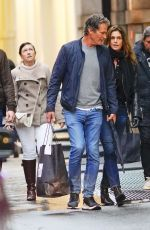 Cindy Crawford Seen waiting for her daughter with her husband in Soho