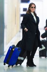 Felicity Jones and husband Charles Guard are all smiles as they touch down at JFK Airport in New York
