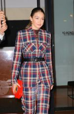 Gigi Hadid Steps out in a stylish plaid outfit for Z100