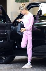 Hailey Bieber Looks pretty in pink as she steps out for a spa day