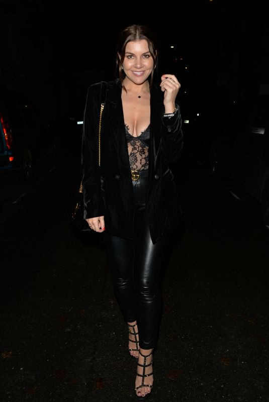 Imogen Thomas Leaving MKNY house , Mayfair after a night out with friends