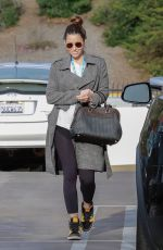 Jessica Biel Shows off her wedding band as she leaves an office building in Los Angeles