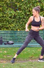 Katie Waissel Shows off her amazing body as she works out in a North London park