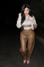Kylie Jenner Out Wearing Brown Coloured Leather Pants And A Stunning Top For A Girls Night Out In Beverly Hills