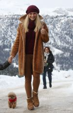 Michelle Hunziker Arrives in the mountains in San Cassiano by Helicopter