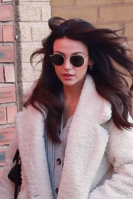 Michelle Keegan While pictured leaving Terrance Paul hairdressers in Hale, Cheshire