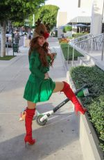 Phoebe Price Shows off her Chanel holiday outfit walking her dog while shopping in West Hollywood