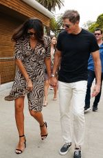 Pia Miller Celebrates her sister-In-Law birthday at the Bondi Iceberg and then board a boat on the Sydney Harbour in Sydney, Australia