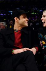 Rami Malek & Lucy Boynton Attend the Washington Wizards and Los Angeles Lakers basketball game in Los Angeles