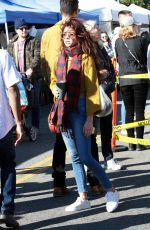 Sarah Hyland and boyfriend Wells Adams show some PDA at the local farmers market in Los Angeles
