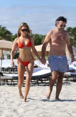 Sylvie Meis In red bikini on the beach in Miami
