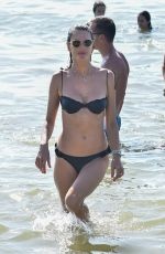 Alessandra Ambrosio In Black Bikini on the Beach in Florianópolis