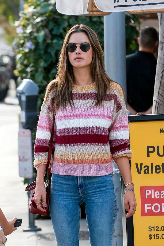 Alessandra Ambrosio Waits for her car after lunch at Il Pastaio in Beverly Hills