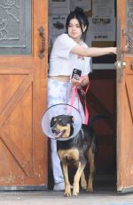 Ariel Winter Leads one of her dogs back to her car after visiting the vet in Studio City