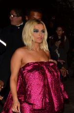 Bebe Rexha In pink arriving at Chateau Marmont for the Golden Globes after-party in Hollywood