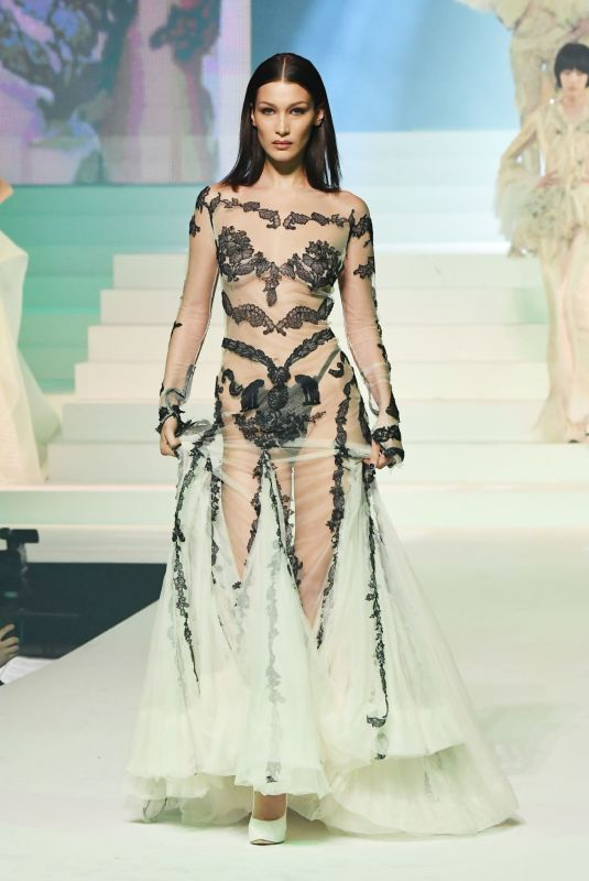 Bella Hadid At Jean-Paul Gualtier Haute Couture S/S 2020 Show at Paris Fashion Week