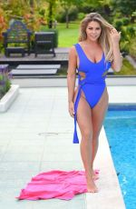 Bianca Gascoigne In a blue swimsuit by the Pool in Portugal