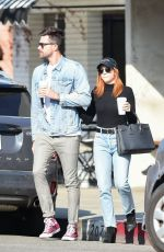 Brittany Snow and Tyler Stanaland leave lunch at Joan