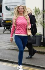 Christine McGuinness All smiles as she leaves The Style Lounge hair Salon in Cheshire