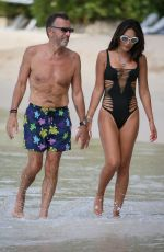 Duncan and Nigora Bannatyne seen going for a jet ski ride outside Sandy Lane Hotel in Barbados