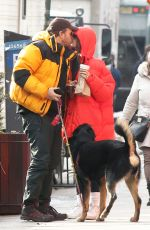 Emily Ratajkowski Gets a morning kiss from her husband Sebastian Bear-McClard in New York City