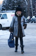 Goldie Hawn Smiles for the camera while out in Aspen