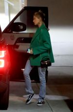 Hailey Bieber Arrives for Wednesday church services in Beverly Hills