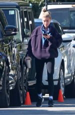 Hailey Bieber Fuels up with post-workout smoothies after a training at the Dogpound gym in Los Angeles