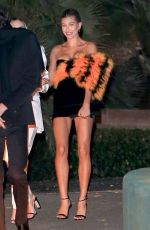 Hailey Bieber In a black dress while leaving the YSL party in Los Angeles