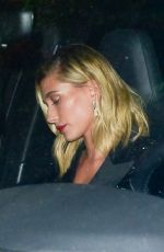 Hailey Bieber Stuns in a black dress as she arrives at the WME Golden Globes after-party in Hollywood