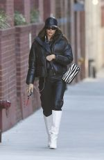 Irina Shayk Bundles Up On A Cold Day While Heading Home After Doing Her Nails in New York