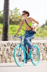 Kaia Gerber Cycling in a Bikini Top in Miami
