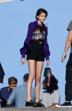 Kaia Gerber Spends her third day on set as she models for Louis Vuitton in Miami