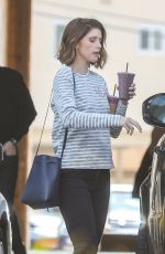 Katherine Schwarzenegger Grabs two purple smoothies on her way to her office in Brentwood