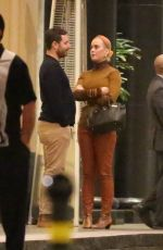Katy Perry Chats with a friend leaving dinner in Beverly Hills